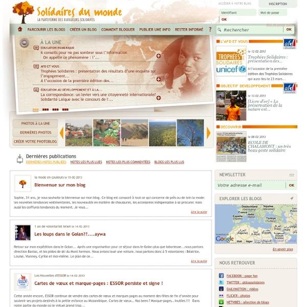 Créer un blog gratuit solidaires du monde