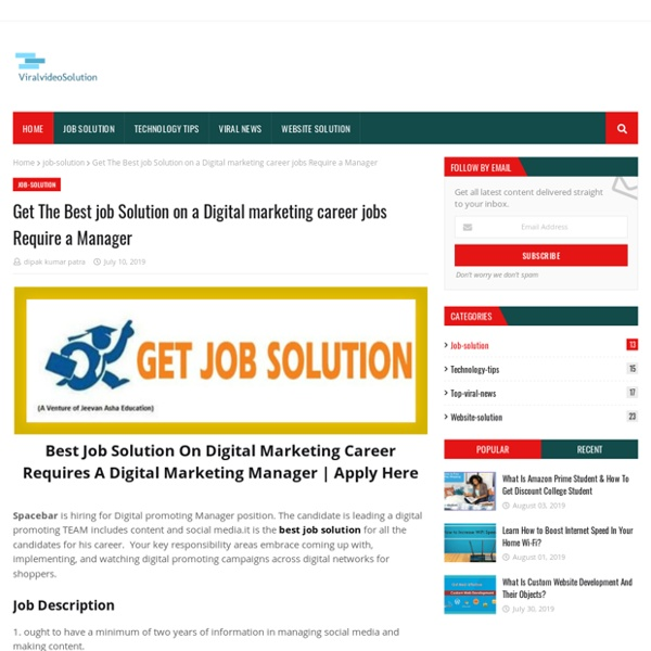 Get The Best job Solution on a Digital marketing career jobs Require a Manager