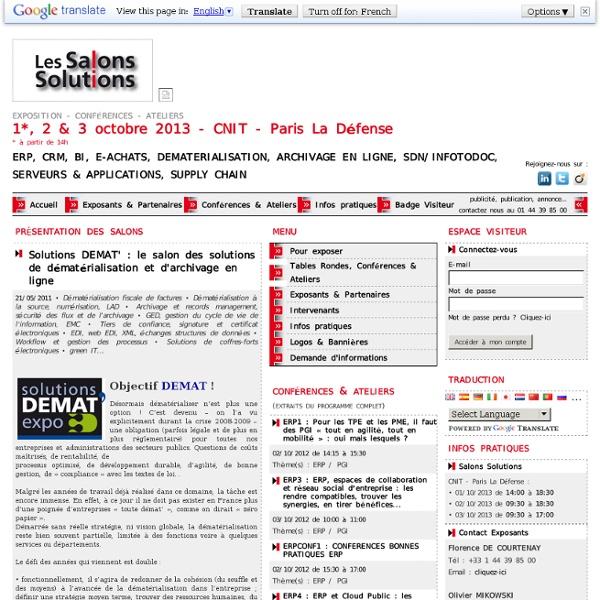 Article/Dépêche - Solutions DEMAT' : le salon des solutions de dématérialisation et d'archivage en ligne