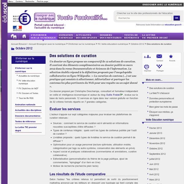 Des solutions de curation — éduscol, le site des professionnels de l'éducation