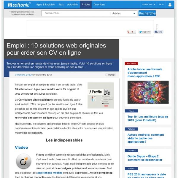 emploi  10 solutions web originales pour cr u00e9er son cv en ligne