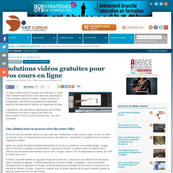 Solutions vidéos gratuites pour vos cours en ligne