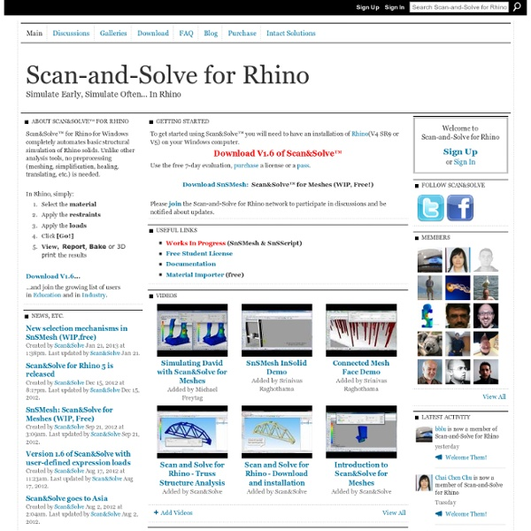 Scan-and-Solve for Rhino - In Situ Analysis for Rhino