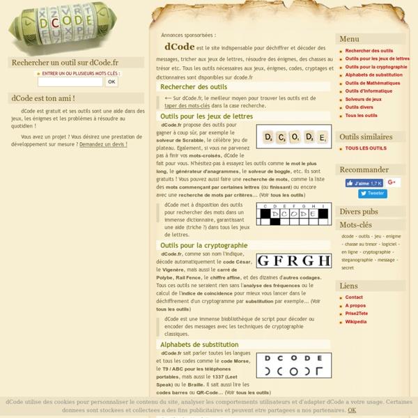 Dcode.fr : Anagrammes, Mots croisés, Cryptographie, Solveurs etc.