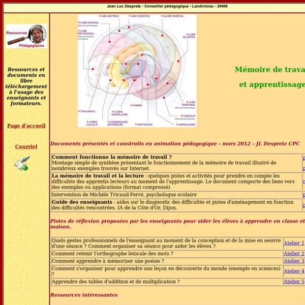 Mémoire de travail et apprentissage - Jean Luc Despretz - Conseiller pédagogique - Landivisiau