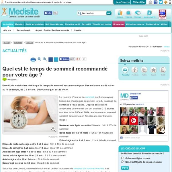 Quel est le temps de sommeil recommandé pour votre âge