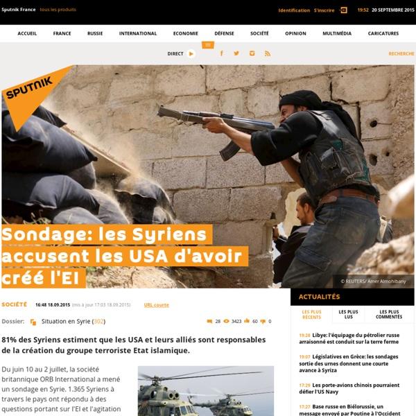 Sondage: les Syriens accusent les USA d'avoir créé l'EI
