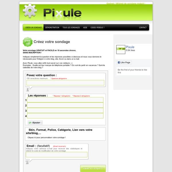 Sondages PiXule : sondage gratuit, votre widget sondage rapide facile