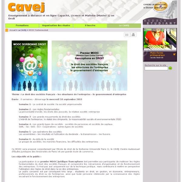 Le CAVEJ : MOOC Sorbonne droit. Votre formation en droit à distance au CAVEJ.