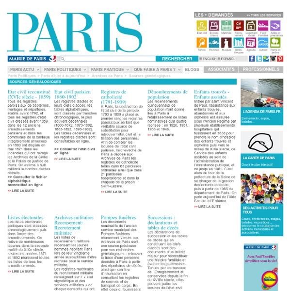 Paris - Sources généalogiques
