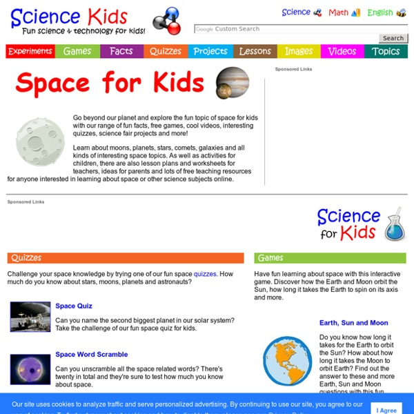 Space for Kids - Free Games, Fun Facts, Cool Videos, Science Online