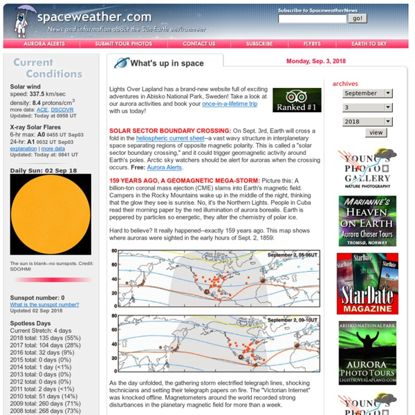 News and information about meteor showers, solar flares, auroras, and near-Earth asteroids
