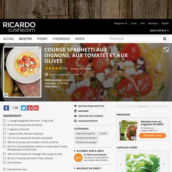 Courge spaghetti aux oignons, aux tomates et aux olives Recettes
