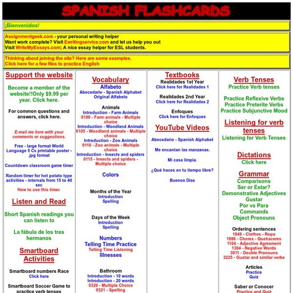Spanish Flash Cards - Spanish Flashcards