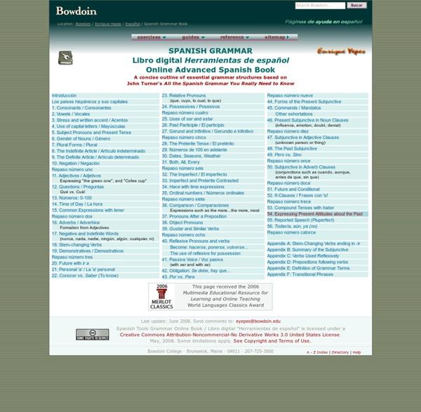 Spanish Grammar Online: Contents