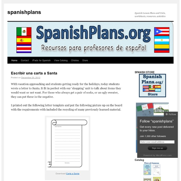 Spanish Lesson Plans and Units, worksheets, resources, activities
