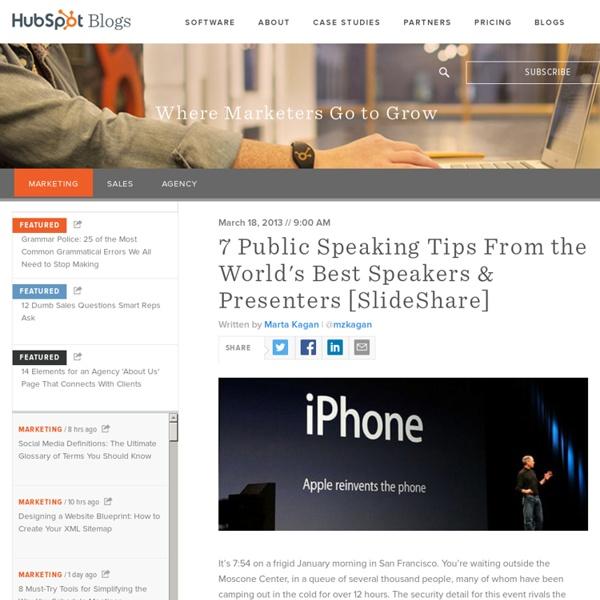 7 Public Speaking Tips From the World's Best Speakers & Presenters [SlideShare]