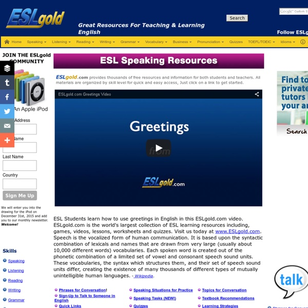 English Speaking and conversation practice and activities for ESL students and teachers
