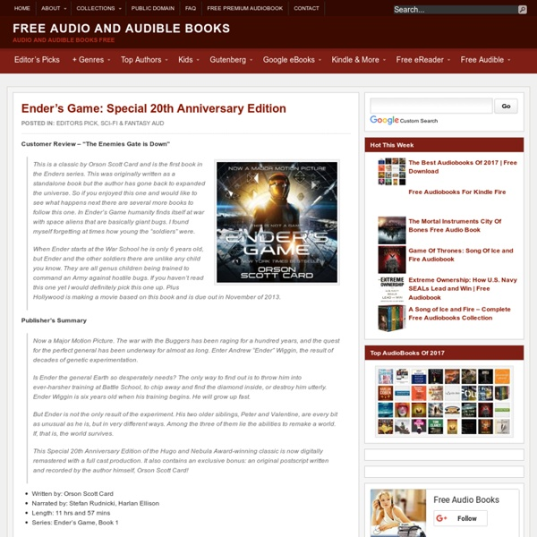Ender's Game: Special 20th Anniversary Edition Free AudioBook