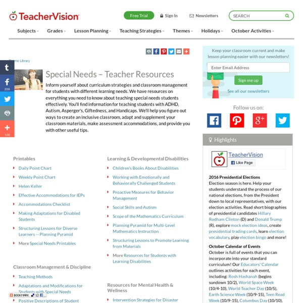 Special Needs – Teacher Resources