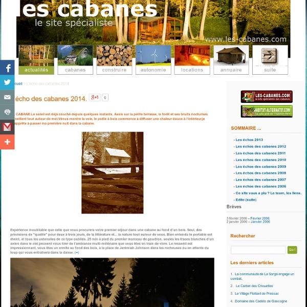 Accueil et actualites des cabanes
