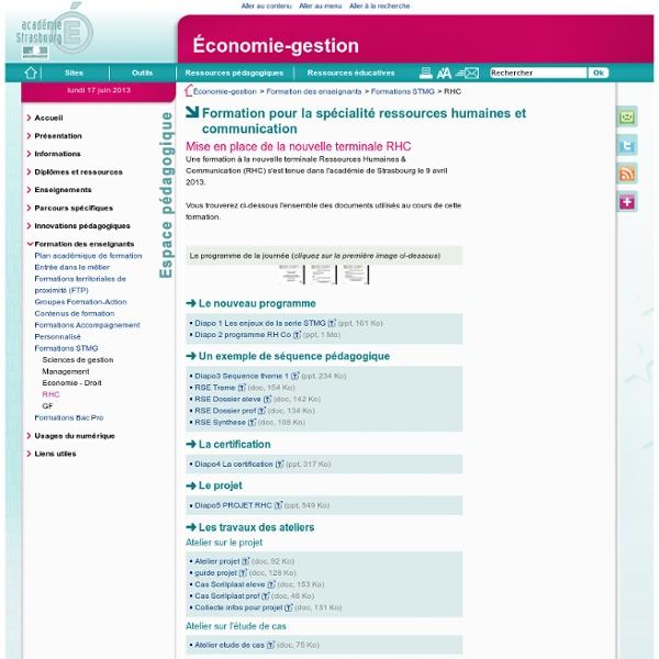 Projet RHC - Ressources de l'académie de Strasbourg (9 avril 2013)