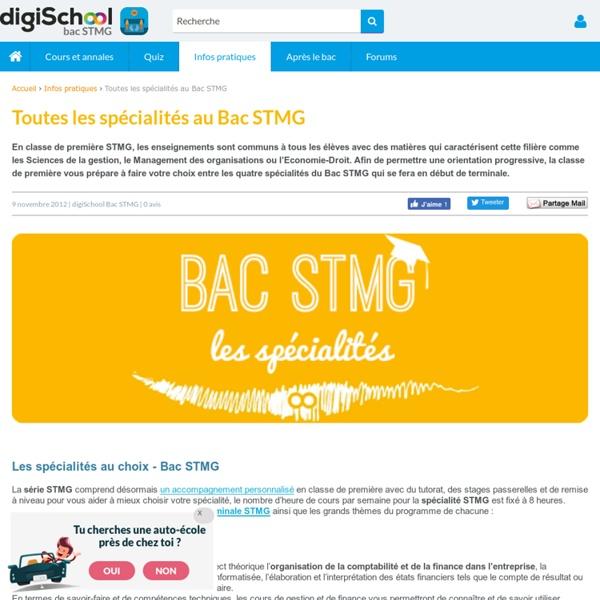 Les spécialités du Bac STMG