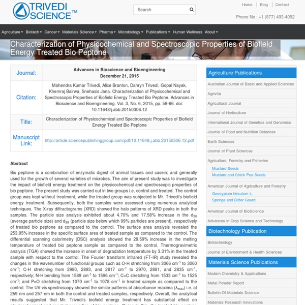 Physicochemical & Spectroscopic Properties of Bio Peptone
