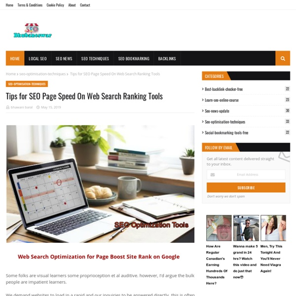 Tips for SEO Page Speed On Web Search Ranking Tools