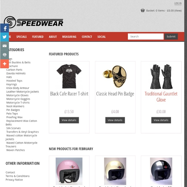 Speedwear Ltd, Wax Jackets, Motorcycle Gloves, Davida Helmets, Cafe Racer, Silk Scarves