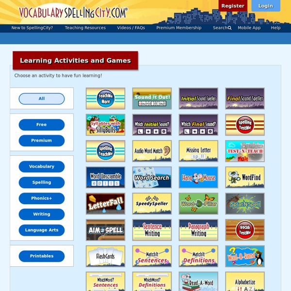 Learning Activities and Word Games for Vocabulary, Spelling, Writing