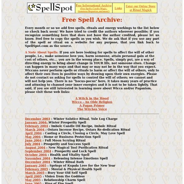 Free Spells, Witchcraft Spells, Wiccan Spells, Wicca Spells, SpellSpot