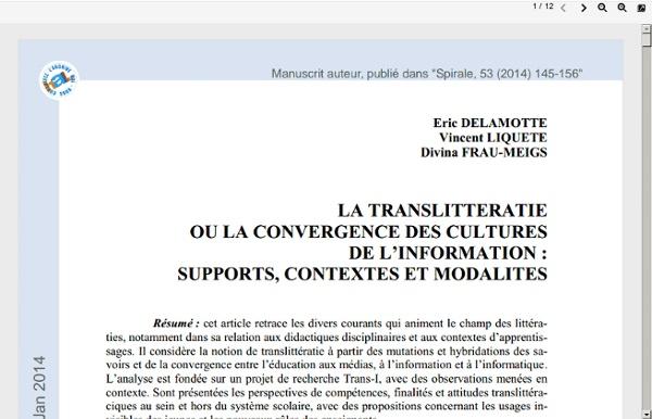 LA TRANSLITTERATIE OU LA CONVERGENCE DES CULTURES DE L'INFORMATION - Eric DELAMOTTE Vincent LIQUETE Divina FRAU - MEIGS (2014)