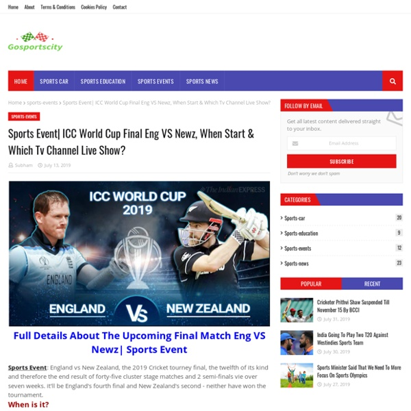 ICC World Cup Final Eng VS Newz, When Start & Which Tv Channel Live Show?