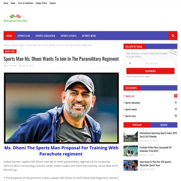 Sports Man Ms. Dhoni Wants To Join In The Paramilitary Regiment