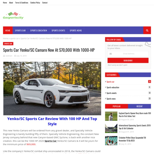 Sports Car Yenko/SC Camaro Now At $70,000 With 1000-HP