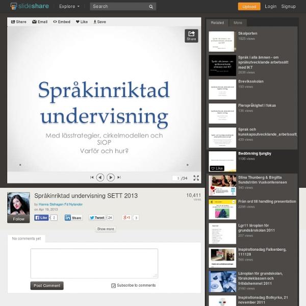 Språkinriktad undervisning SETT 2013