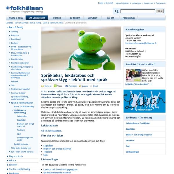 Språklekar, språkverktyg - folkhalsan.fi