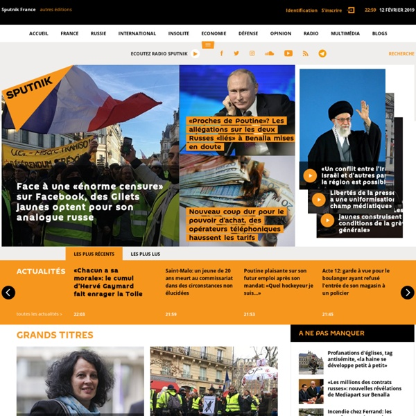 Sputnik France - Actualités - Prises de Position - Radio