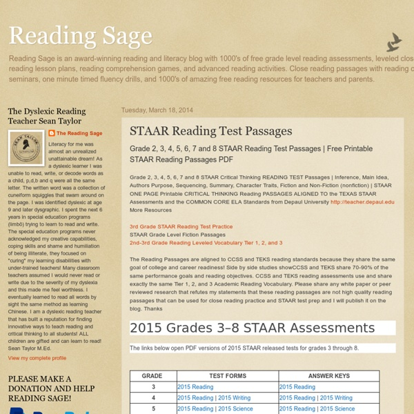 Staar Reading Test Passages Pearltrees