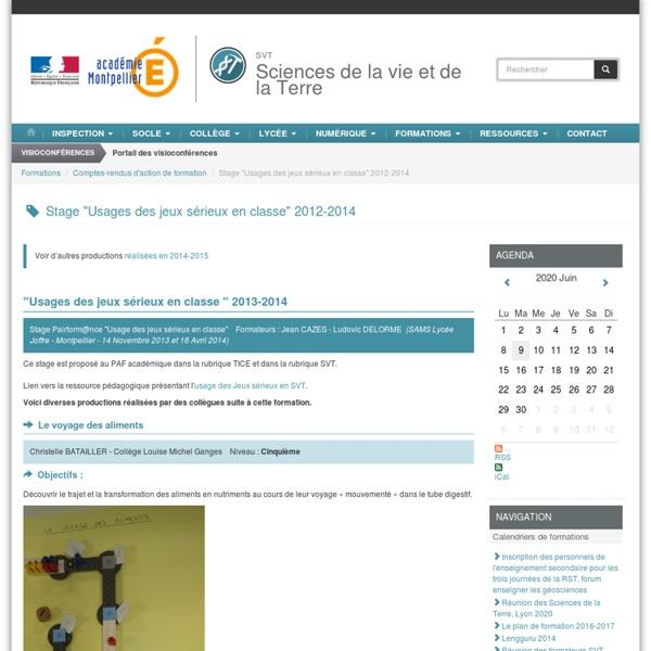 """Stage """"Usages des jeux sérieux en classe"""" 2012-2014"""