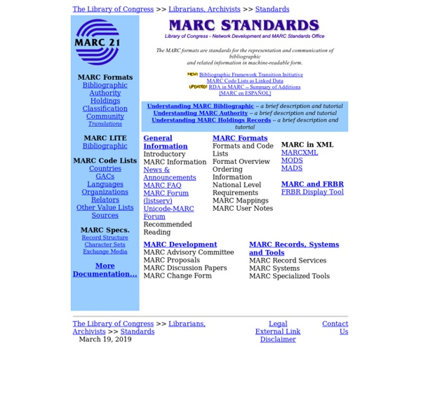 MARC STANDARDS (Network Development and MARC Standards Office, Library of Congress)