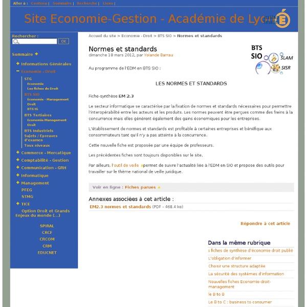 EM2.3 Normes et standards