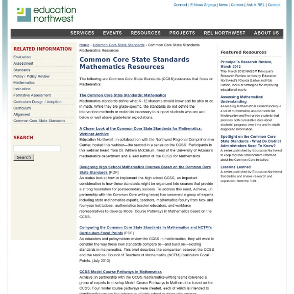 Common Core State Standards Mathematics Resources