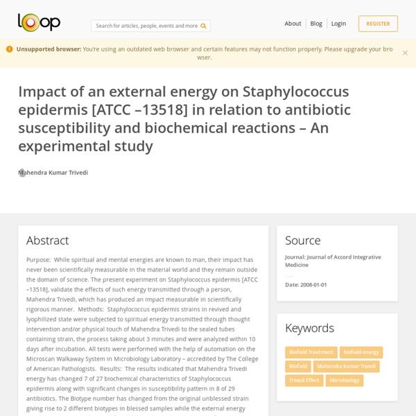Staphylococcus Epidermis' Biofield Treatment