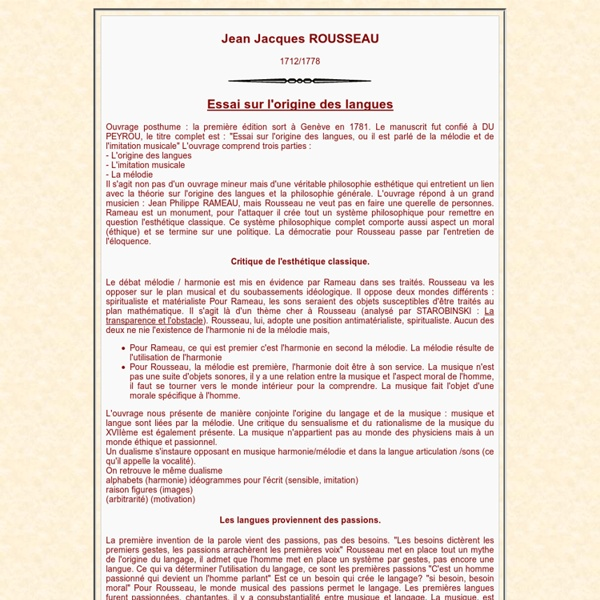 Jean Jacques ROUSSEAU Essai sur l'origine des langues, STAROBINSKI, RAMEAU, théorie des climats de Montesquieu