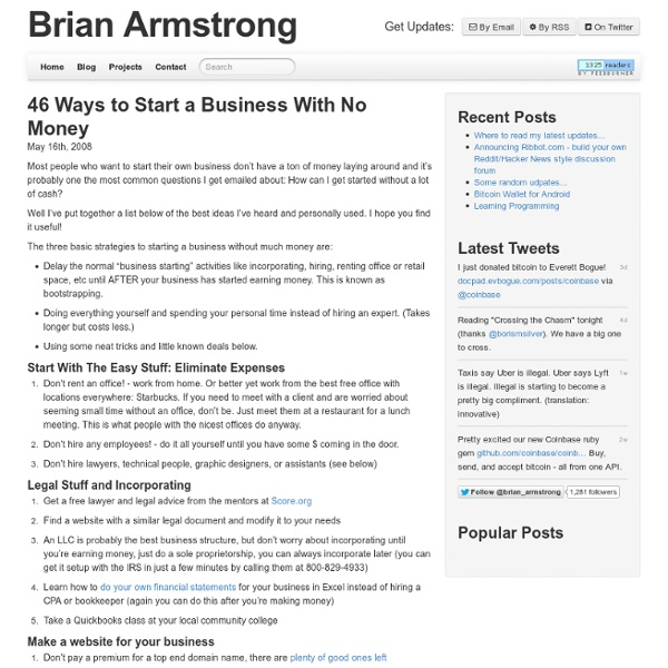 46 Ways To Start A Business With No Money