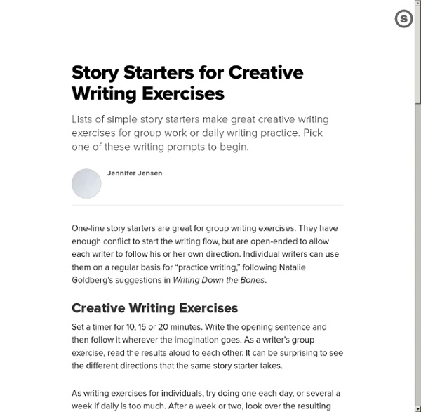 creative writing starters Free, printable creative writing prompt worksheets for your use at home or in classrooms writing prompts are sorted by grade click now.