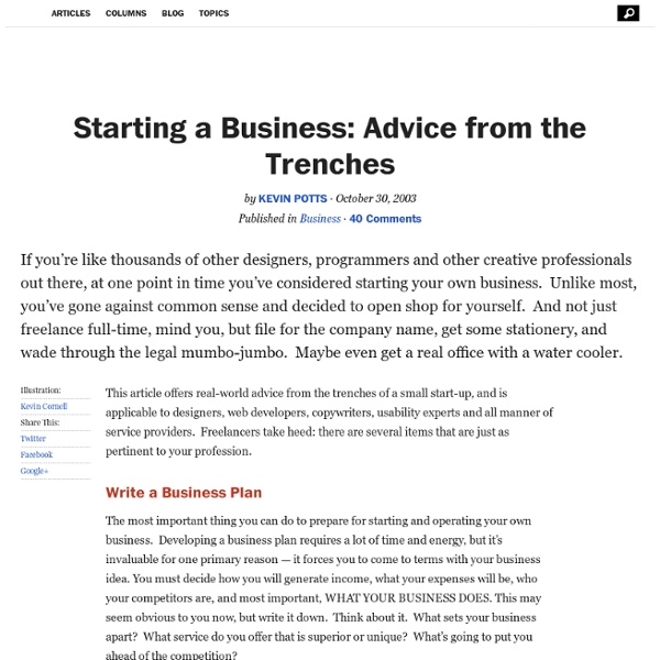 Starting a Business: Advice from the Trenches - StumbleUpon