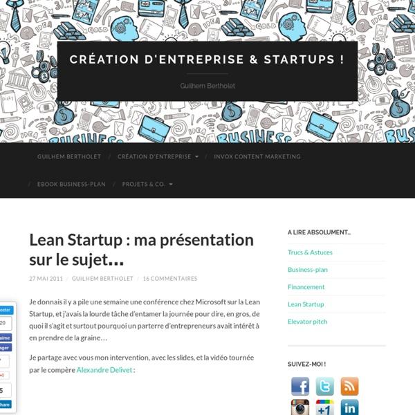 Lean Startup : ma présentation sur le sujet